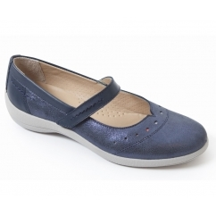 ROWYN Ladies Leather Wide Fit Mary Jane Shoes Navy