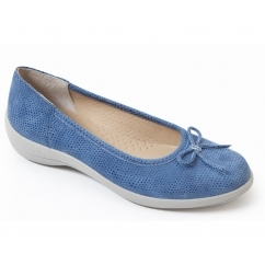 ROXY Ladies Leather Wide Fit Pumps Flats Blue
