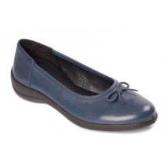 ROXY Ladies Leather Wide Fit Pumps Flats Navy