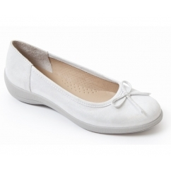 ROXY Ladies Leather Wide Fit Pumps Flats Silver