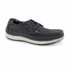 RUBBLE Mens Nubuck Lace Up Shoes Navy