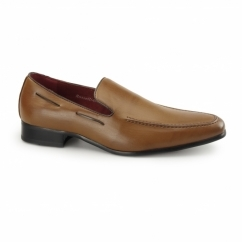RUNU KR2 Mens Faux Leather Loafers Brown