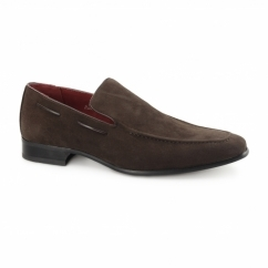 RUNU KR2 Mens Faux Suede Loafers Brown