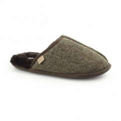 RUSSEL Mens Sheepskin Mule Slippers Tweed