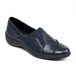 RUTH Ladies Leather Wide Loafer Shoes Navy