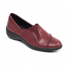 RUTH Ladies Leather Wide Loafer Shoes Wine