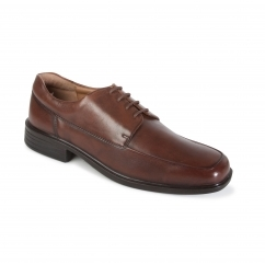 RYAN Mens Leather Wide Fit Lace Smart Shoes Brown