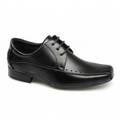 RYTON Boys Perforated Leather Lace-Up Shoes Black