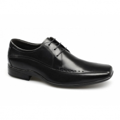 RYTON Mens Perforated Leather Lace-Up Shoes Black