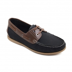 SAIL Mens Leather Smart Casual Boat Shoes Navy
