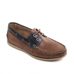 SAIL Mens Leather Smart Casual Boat Shoes Tan