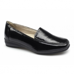 SALLY 3 Ladies Faux Patent Wedge Slip-On Loafers Black