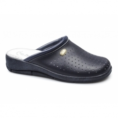 ANGIE Ladies Leather Mule Clogs Sandals Navy