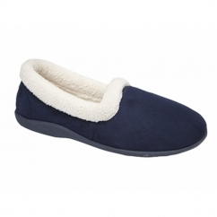 SANDIE Ladies Collared Full Slippers Navy Blue
