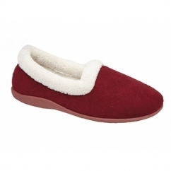SANDIE Ladies Collared Full Slippers Wine