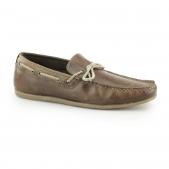 SANDY Mens Leather Boat Shoes Tan