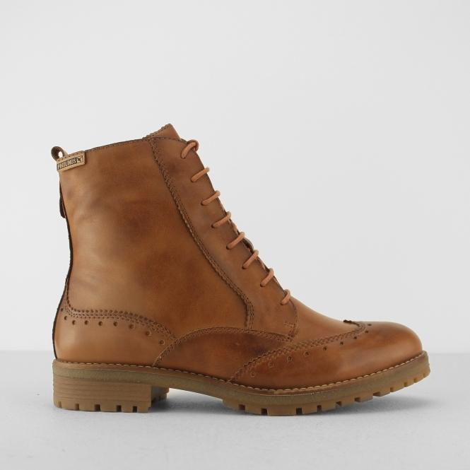 Pikolinos SANTANDER Ladies Leather Block Heel Shoe Tan Brandy  49308b169cb1