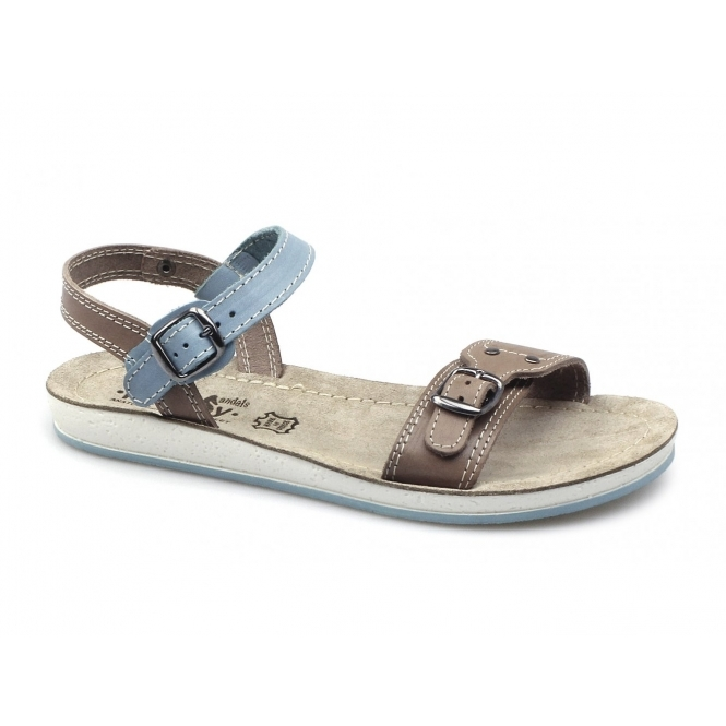 2469a7e166561 Fantasy Sandals SANTORINI Ladies Leather Sandals Tan Blue
