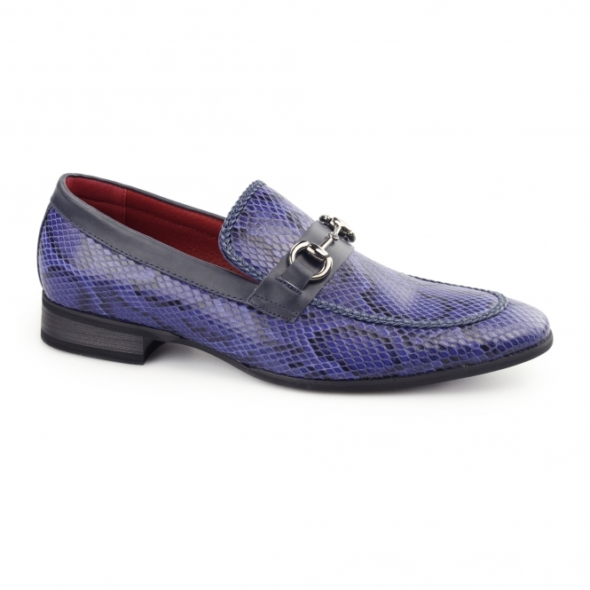 Giovanni SANTORO Mens Faux Sankeskin Buckle Loafers Navy