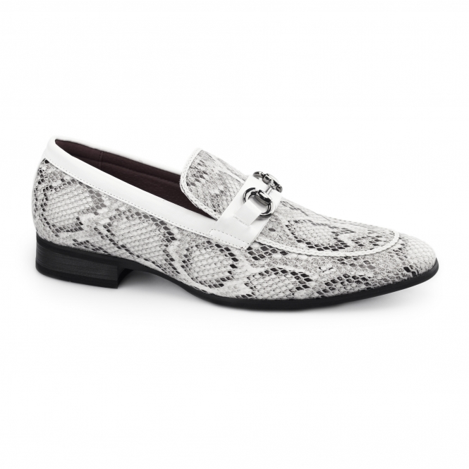 Giovanni SANTORO Mens Faux Sankeskin Buckle Loafers White