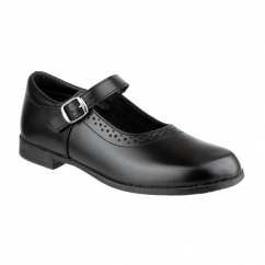 SARA Girls Leather School Shoes Black