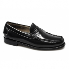 SASSARI Mens Leather Moccasin Penny Loafers Black