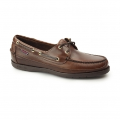 SCHOONER Mens Oiled Waxy Leather Boat Shoes Brown