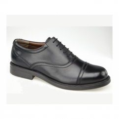 ALTON Mens Leather Lace Up Cap Oxford Shoes Black