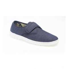 ELIOT Mens Padded Casual Velcro Shoes Navy Blue Denim