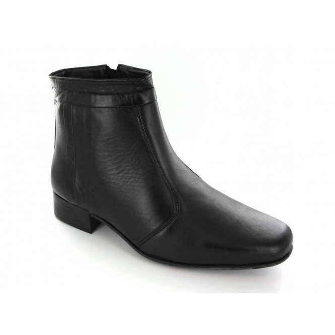435bf263ee8 Scimitar Mens Leather Pleated Zip Ankle Boots Black
