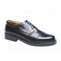 HARLAN Mens Leather Lace Up Cap Gibson Shoes Black