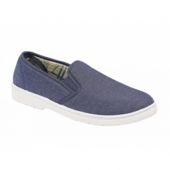 Scimitar Mens Twin Gusset Casual Canvas Shoes Navy