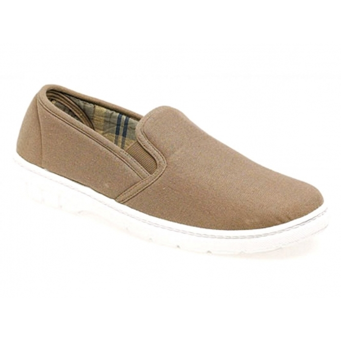 Scimitar LOUIE Mens Twin Gusset Casual Canvas Shoes Taupe