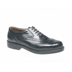 STEWART Mens Leather Brogue Shoes Black