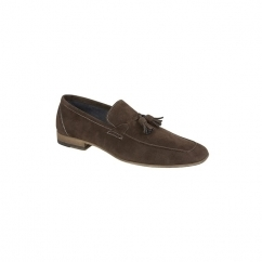 SCOTT Mens Faux Suede Tassel Loafer Shoes Dark Brown