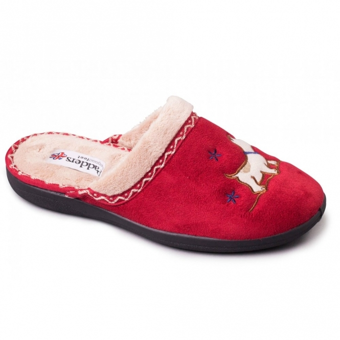 Padders SCOTTY Ladies Microsuede Extra Wide Fit Mule Slippers Red