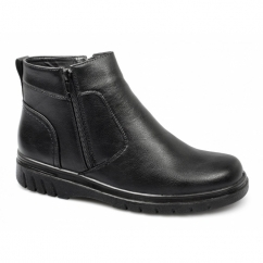 SEAN Mens Fleece Lined Twin Zip Boots Black