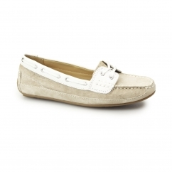 Sebago BALA Ladies Suede/Leather Lace Up Moccasin Boat Shoes Taupe/White
