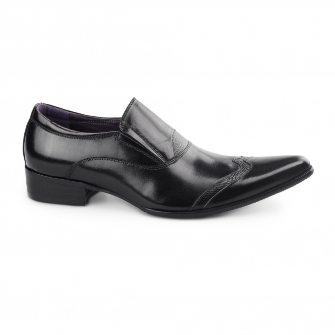 Gucinari SEBASTIAN Mens Slip On Cuban Heel Shoes Black