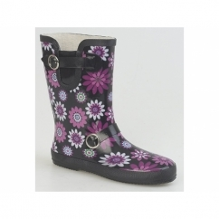 SELAH Ladies Floral Wellington Boots Black/Fuchsia