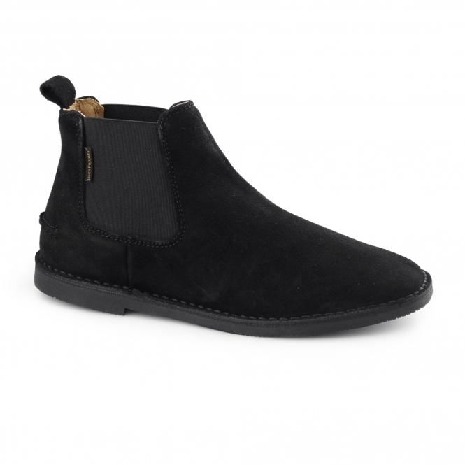 Hush Puppies SELBY Mens Suede Wide Chelsea Boots Black
