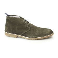 Selected SHHROYCE Mens Suede Desert Boots Olive Green