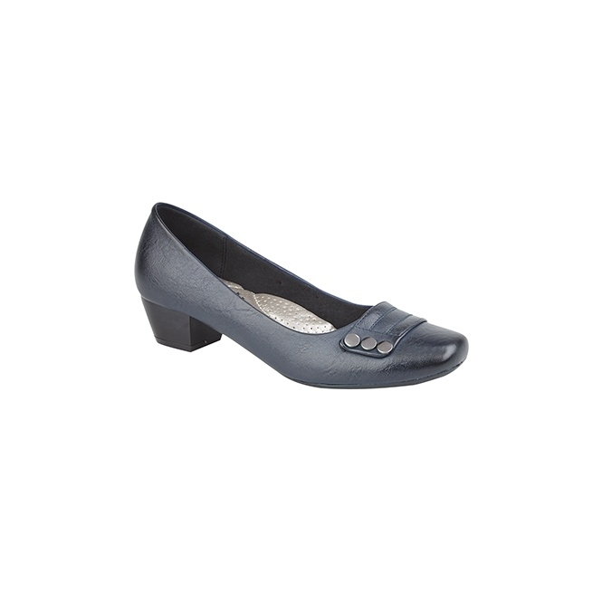 Boulevard SELINA Ladies Studded Bar Block Heel Court Shoes Navy