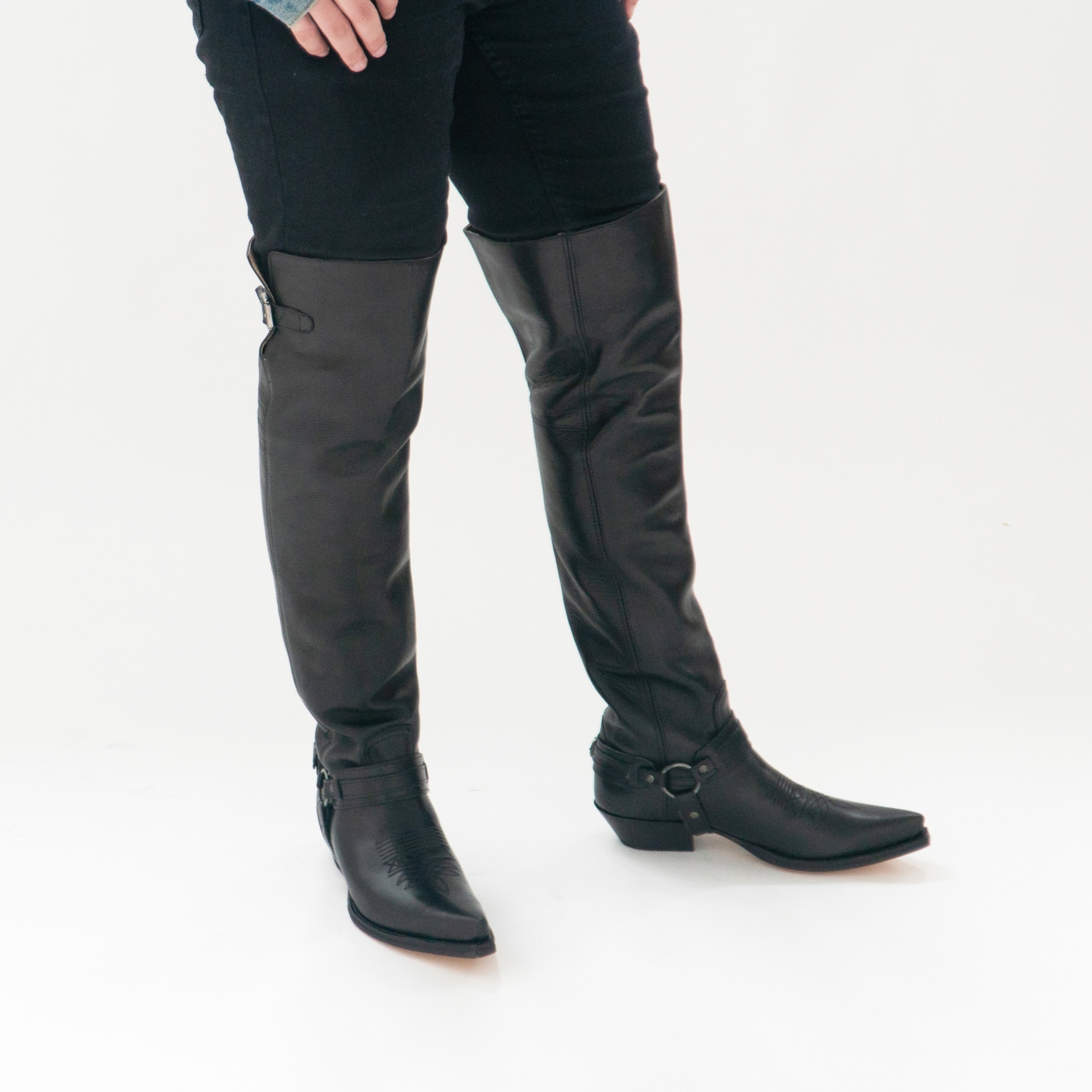 leather knee high boots for men