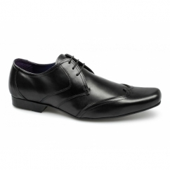 SETH Mens Soft Leather Lace-Up Wingtip Shoes Black