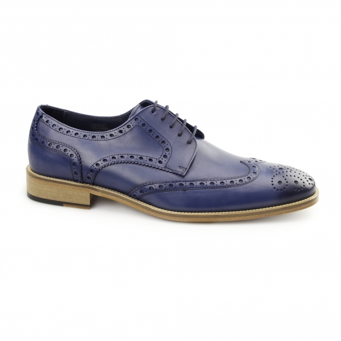 Carvelos SEVILLE Mens Leather Derby Brogues Navy