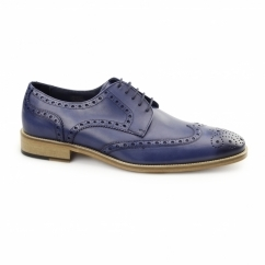 SEVILLE Mens Leather Derby Brogues Navy