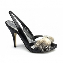 SHANNAH Ladies Brooch High Heels Shoes Black