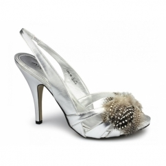 SHANNAH Ladies Brooch High Heels Shoes Silver