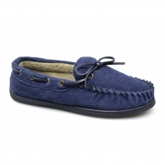 SHEAMUS Mens Warm Suede Moccasin Wide Boat Slippers Navy